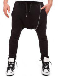 Zipper Embellished Drawstring Harem Pants