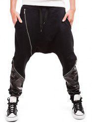 Zipper Embellished PU Spliced Harem Pants