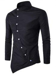 Stand Chinese Collar Button Up Asymmetric Shirt - BLACK