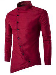 Stand Chinese Collar Button Up Asymmetric Shirt -