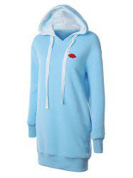 Lip Embroidered Fleece Drawstring Hoodie -
