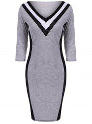 Striped V-Neck Bodycon Dress - GRAY