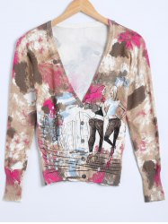 Girl Print Knitted Cardigan -