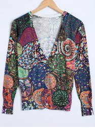 Buttoned Ribbed Printed Cardigan -
