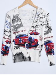 Car Print Knitted Cardigan -