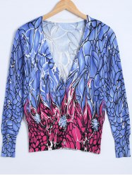 Floral Print Knitted Cardigan -