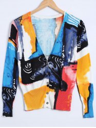 Color Block Buttoned Knitted Cardigan -