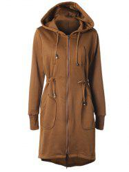 Drawstring Back Zipped Hooded Coat -