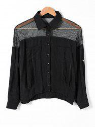Pocket Design Mesh Insert Openwork Shirt -
