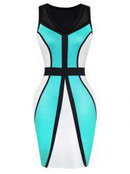 Color Block Tulle Tight Dress -