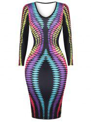 Colorful Dot Print Plunge Bodycon Dress
