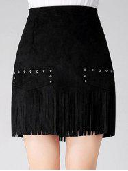 Stud Embellished Suede Fringed Skirt