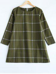 Loose Fitting A-Line Grid Print Dress