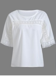 Hollowed Lace Splicing Blouse -