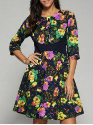Buttoned High Waisted Floral Printed Dress -