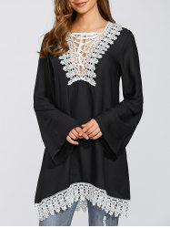 Lace Up Bell Sleeve Chiffon Dress - BLACK