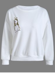 Animal Print Pullover Sweatshirt - WHITE XL