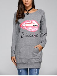 Lip Print Long Pullover Sweatshirt