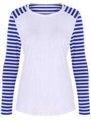 Raglan Sleeve Patched Striped T-Shirt