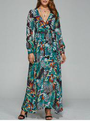 Belted  Surplice Printed Maxi Dress