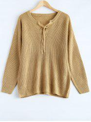 Lace Up Pullover Plus Size Sweater