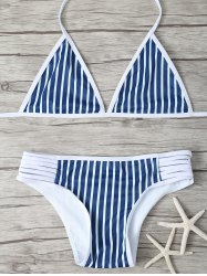 Halter Striped Strappy Bikini -