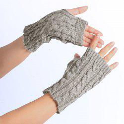 Winter Hemp Flowers Knitted Fingerless Gloves -