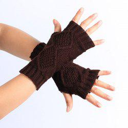 Winter Rhombus Knit Fingerless Gloves - COFFEE