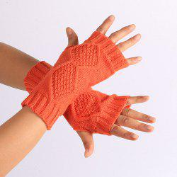 Winter Rhombus Knit Fingerless Gloves -