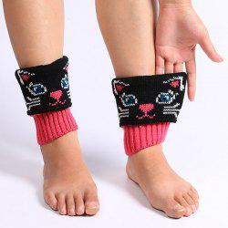 Warm Cat Pattern Knit Boot Cuffs - BLACK