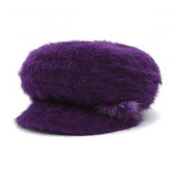 Faux Fur Flowers Knitted Angora Beret Hat - DEEP PURPLE