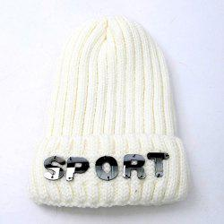 Winter Letter Flanging Knitted Hat -