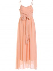Lace Up Spaghetti Strap Chiffon Maxi Bridesmaid Dress - PASTER ORANGE M