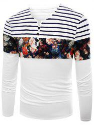 Notch Neck Stripe Floral Print T-Shirt