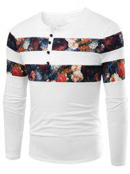 Notch Neck Floral Printed T-Shirt