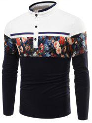 Stand Collar Floral Printed Long Sleeve T-Shirt - PURPLISH BLUE