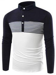 Striped Color Block Polo Shirt - PURPLISH BLUE
