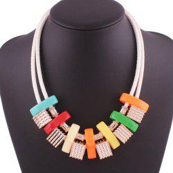 Faux Leather Rope Geometric Block Necklace -
