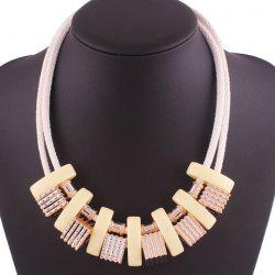 Faux Leather Rope Geometric Block Necklace
