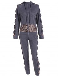 Leopard Printed Pants and Zip Up Hooded Top -
