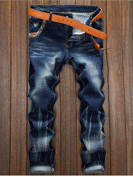 Selvedge Embellished Splicing Distressed Straight Leg Jeans -