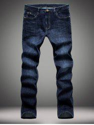 Elasticity Slimming Zipper Fly Straight Leg Jeans
