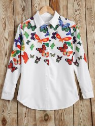 Autumn Butterfly Print Shirt -