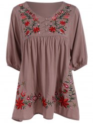 Embroidered Plus Size Casual Flower Dress - DUN