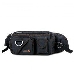 Metal Pockets Dark Color Waist Bag - BLACK