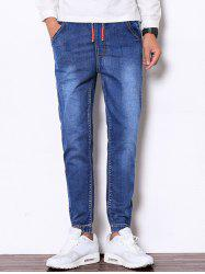 Drawstring Faded Denim Jogger Pants - BLUE 2XL