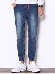 Drawstring Faded Denim Jogger Pants