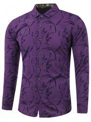 Turn-Down Collar Irregular Linellae Print Long Sleeve Shirt - PURPLE