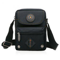 Metal Nylon Dark Color Crossbody Bag - BLACK