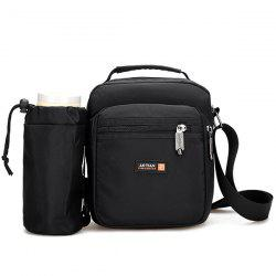 Deep Colour Zippers Nylon Messenger Bag - Noir